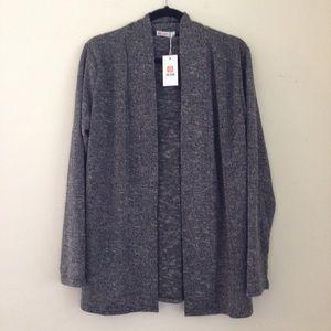 Dark Gray Loose Open Front Cardigan Sweater